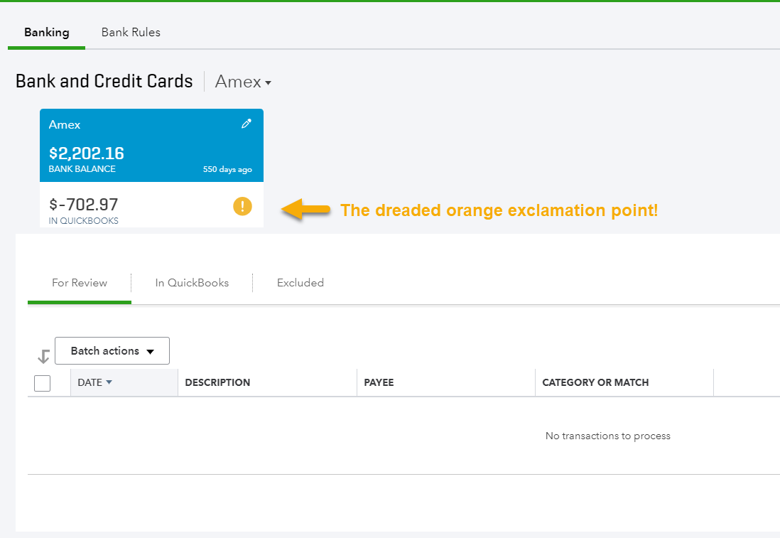 Bank feed errors in quickbooks online and how to fix them part 1 orange exclamation mark reheart Images